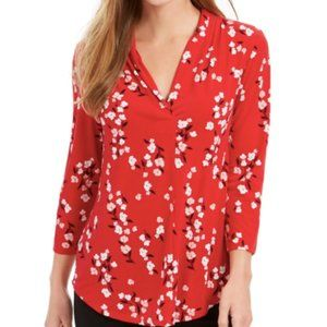Charter Club Floral Print Pleated V-Neck Blouse